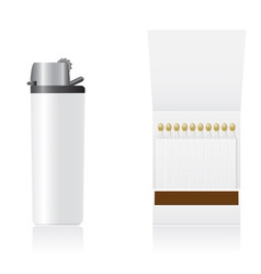set of white blank lighter and matches vector image vector image