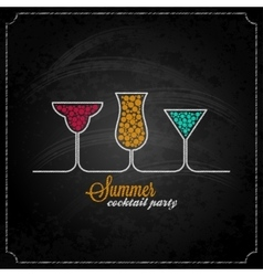summer cocktail party design chalk background vector image