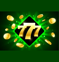 777 triple lucky sevens bright casino banner with vector image