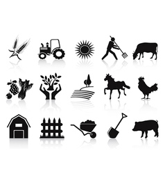 black farm and agriculture icons set vector image vector image