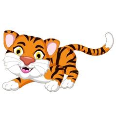 Cute tiger cartoon posing for you design vector image vector image