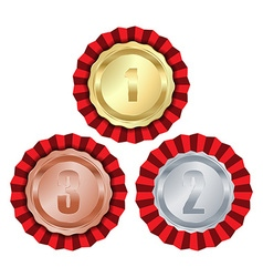 medals with gold rosette first place second place vector image vector image