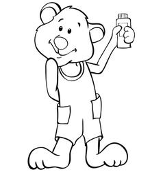 Outline funny bear vector image vector image