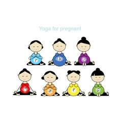 Pregnant yoga women group for your design vector image