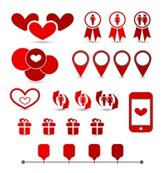Set infographic elements of valentine presentation vector image
