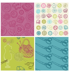 Sewing Kit - Set of Seamless Backgrounds vector image