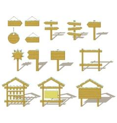 wood signs winter set vector image
