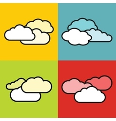 Flat cloud icons on color background vector image vector image