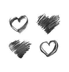 hand drawn chalk hearts vector image