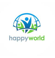 people happy world logo vector image