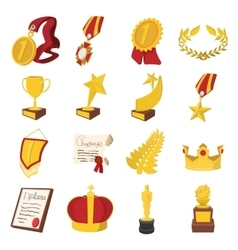 Trophy and awards cartoon icons set vector image vector image