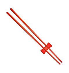 wooden chopsticks in red design vector image