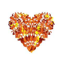 abstract heart red love symbol orange and yellow vector image