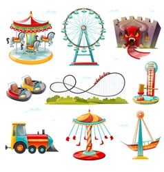 Amusement park attractions flat icons set vector