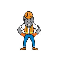 Angry Gorilla Construction Worker Cartoon vector