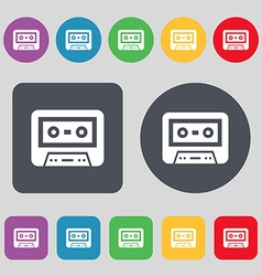 audiocassette icon sign A set of 12 colored vector image