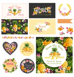 Baby Shower Tropical Theme Design Elements vector