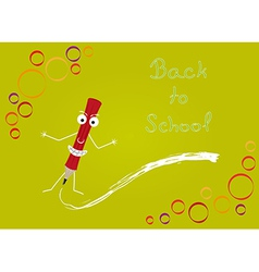 back to school with red pencil vector image