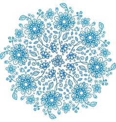 Blue flowers ornate background vector image