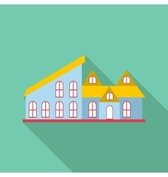 Blue house icon flat style vector
