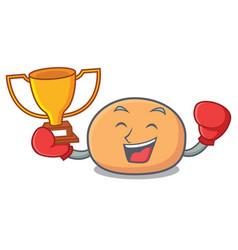 Boxing winner mochi mascot cartoon style vector