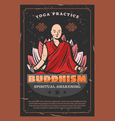 Buddha monk and lotus buddhism religion vector