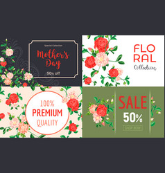 camellia flower banner set cartoon style vector image