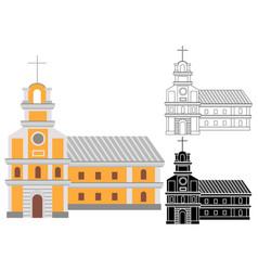 Cartoon catholic religious building with cross on vector