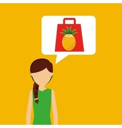 Cartoon girl shopping pineapple fruit icon vector