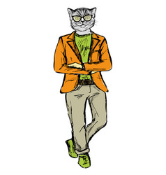 Cat dressed up in hipster style vector