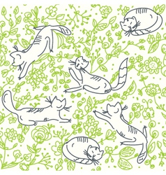 Cats in the garden vector