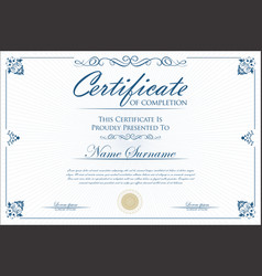 certificate or diploma retro vintage design vector image