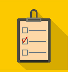 Checklist with box and red mark icon flat style vector