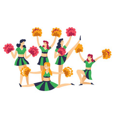 cheerleaders in uniform with pompoms cheering up vector image