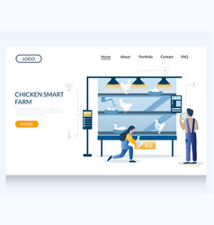 chicken smart farm website landing page vector image