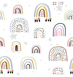 childish seamless pattern with hand drawn rainbows vector image