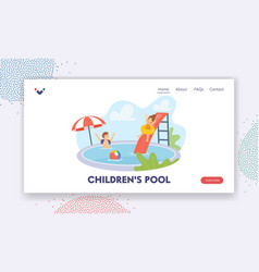 children in swimming pool landing page template vector image