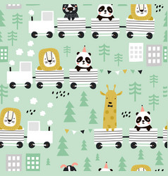 Children s seamless pattern with cute animals vector