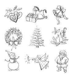 Christmas hand drawn icon set vector image