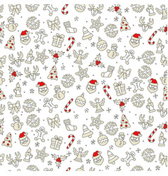 christmas icons pattern in red vector image