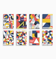 collection abstract colorful retro covers vector image