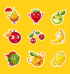 collection fruits stickers pear apple orange vector image