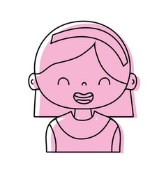 Color smile girl with hairstyle and headband vector