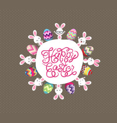 colorful easter eggs and bunny around globe vector image