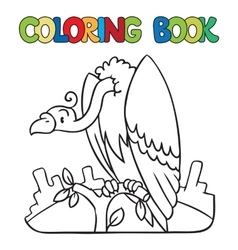Coloring book of funny vulture vector
