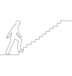 continuous line man climbs the stairs ambitions vector image