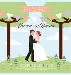couple wedding dancing in park save the date card vector image