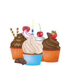 Cupcakes set on white background vector