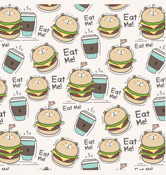 cute bear burger and coffee cup pattern background vector image