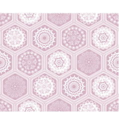 Decorated hexagon doily crochet patchwork seamless vector